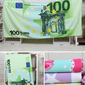 100 Euro Note Pattern Water Absorption Bath Towel - GREEN