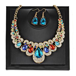 Teardrop Faux Gem Chunky Necklace Suit