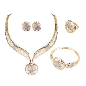 Hollow Out Carve Rhinestone Jewelry Set