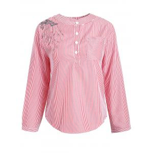 Plus Size Pocket Striped Floral Embroidered Blouse