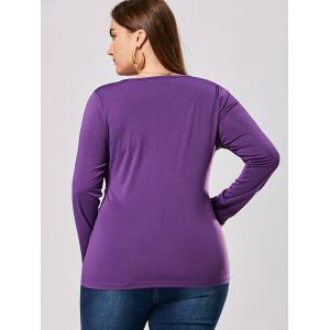 Plus Size Metal Buttons Plunging Neck Surplice Top - PURPLE 3XL