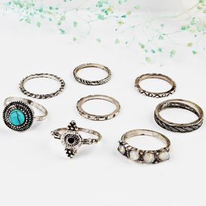Faux Gem Turquoise Finger Ring Set -
