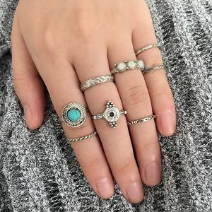 Faux Gem Turquoise Finger Ring Set - SILVER