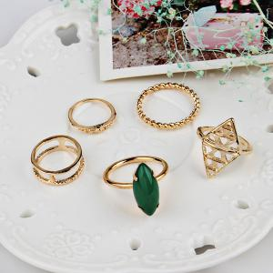 Faux Emerald Vintage Geometric Ring Set - Or