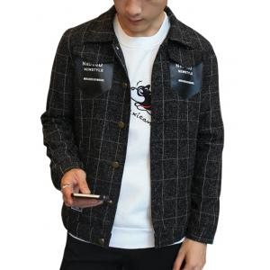 Button Up PU Pocket Checked Jacket
