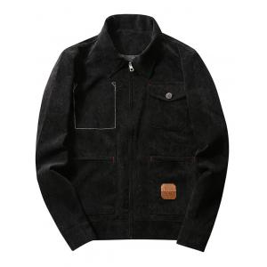 Chest Pocket Zip Up Corduroy Jacket