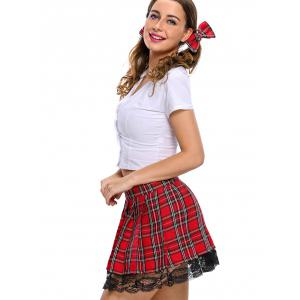 Pleated Checked School Uniform Cosplay Costume -