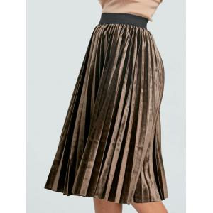 High Waisted Midi Pleated Skirt