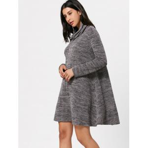 Long Sleeve High Neck Casual Knit Tunic Dress -