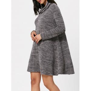 Long Sleeve High Neck Knit Tunic Dress - Gray - 2xl