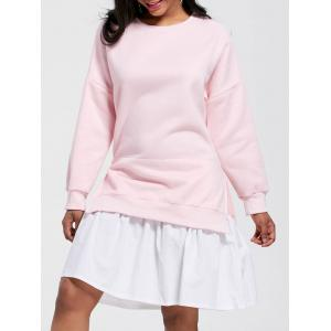 Flounce Crew Neck Mini Sweatshirt Dress