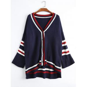 Plus Size Drop Shoulder Striped Cardigan