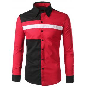 Color Block Long Sleeve Shirt - Red - M