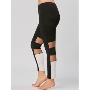 Color Block Plus Size Workout Leggings with Mesh
