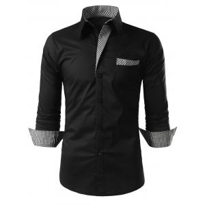 Plaid Trim Long Sleeve Shirt - Black - M
