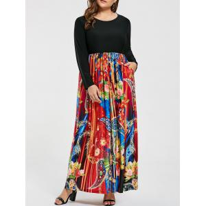 Floral Printed Plus Size Maxi Long Sleeve Dress