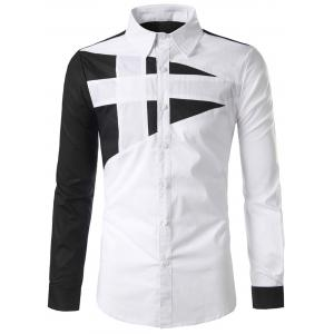 Color Block Button Long Sleeve Shirt - White - M