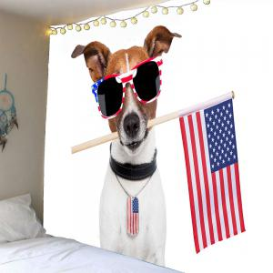 Dog and American Flag Pattern Waterproof Wall Art Tapestry