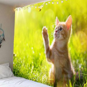 Grass and Cat Pattern Waterproof Wall Art Tapestry