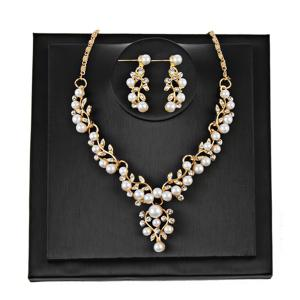 Branches and Leaves Faux Pearl Jewelry Set - Golden