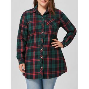 Plaid Pocket Plus Size Shirt