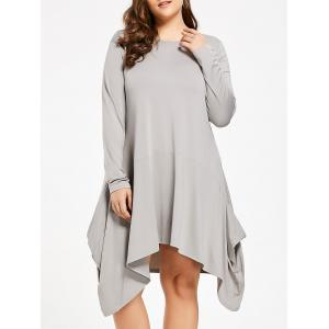 Plus Size Asymmetric Swing T-shirt Dress with Pocket