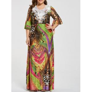 Printed Lace Embellished Ruffled Plus Size Maxi Dress - Floral - 7xl