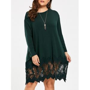 Lace Crochet Trim Plus Size Swing T-shirt Dress