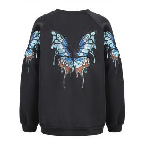 Raglan Sleeve Butterfly Embroidery Sweatshirt