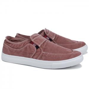Slip On Elastic Band Canvas Shoes - Brick-red - 40