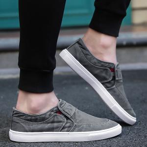 Slip On Elastic Band Canvas Shoes - Gris 44