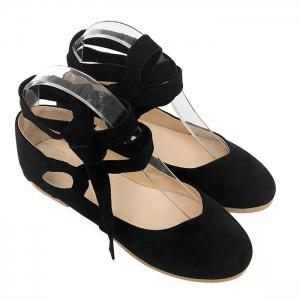 Stack Heel Round Toe Lace Up Flats - Black - 38