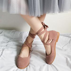 Stack Heel Round Toe Lace Up Flats -