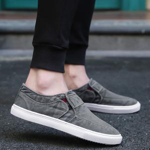 Slip On Elastic Band Canvas Shoes - Gris 42