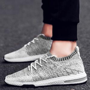 Breathable Color Block Tie Up Casual Shoes - LIGHT GRAY