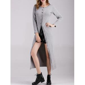 Ribbed Button Down Longline Cardigan - Gray - One Size