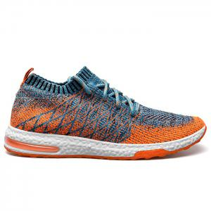 Breathable Color Block Tie Up Casual Shoes - Blue And Orange - 40