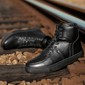 Faux Leather High Top Sneakers - BLACK 40