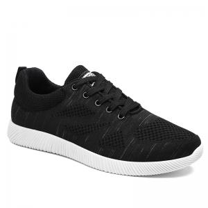 Breathable Pinstripe Casual Shoes - Black - 44