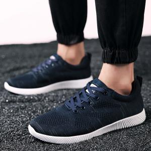 Breathable Pinstripe Casual Shoes - DEEP BLUE 43