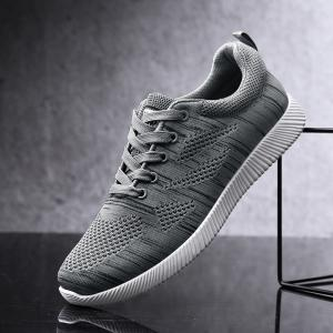 Breathable Pinstripe Casual Shoes - DEEP GRAY 43