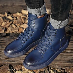 Faux Leather High Top Sneakers - BLUE 43