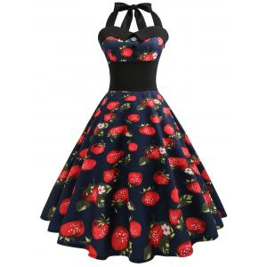 Halter Strawberry Print Vintage Pin Up Dress