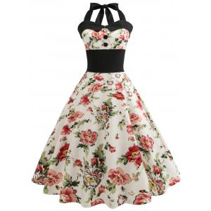 Retro Floral Print Halter Pin Up Dress