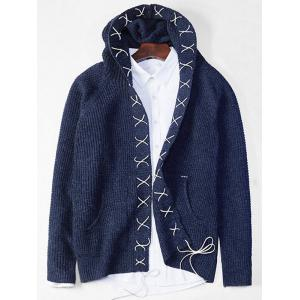 Sennit Design Hooded Open Front Cardigan