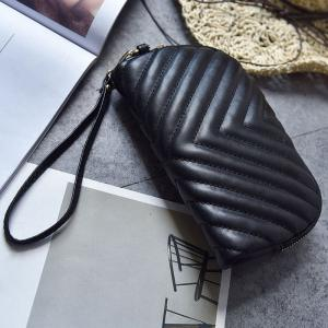Quilted Zipper Faux Leather Clutch Bag -