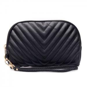 Quilted Zipper Faux Leather Clutch Bag