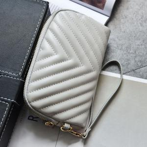 Quilted Zipper Faux Leather Clutch Bag - GRAY