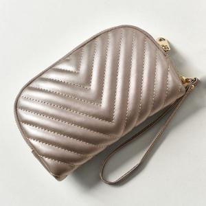 Quilted Zipper Faux Leather Clutch Bag - CHAMPAGNE