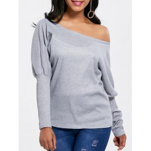 Skew Collar Knitted Batwing Sleeve Top - Gray - S